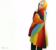 Knitted warm cardigan for women Rainbow Cozy wool by ToBeStudio