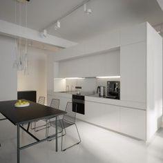 Minimalist Black & White Lofts in Monochrome House Designs By Sergey Baskakov:  Modern White Kitchen Diner