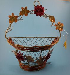 """Basket Wall Decor ~ Decorative 12"""" Metal Wire w/ Wicker ~Autumn Fall Home Garden #JoannStores #Country"""