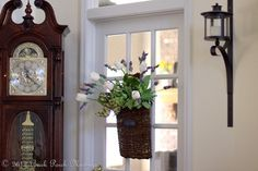 front door decor (wicker basket with tulips and lavender)