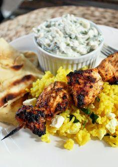 Greek Chicken Kabobs with Yellow Feta Rice and Tzatziki Sauce