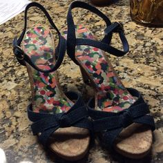 """Fioni strappy denim heels.  Worn once Really cute dark denim strappy shoes.  4"""" heels.  Excellent condition.   031506 Fioni Shoes Heels"""