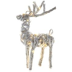 Napa Home  Garden  Silver 20-In. Lighted Grapevine Reindeer ($98) ❤ liked on Polyvore featuring home, home decor, holiday decorations, silver, holiday decor, lighted home decor, holiday reindeer decorations and silver home decor