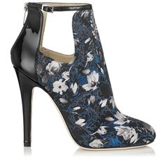 Jimmy Choo Luther English Floral Print Fabric Ankle Boots $1,250.00