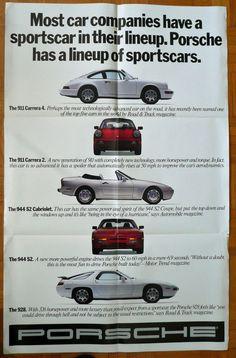 Porsche Programm USA 1989 großer Faltprospekt Poster 911 Carrera 2 4 944 S2 cabr | eBay