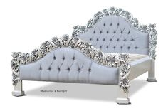 Rose du Chantilly Bed - Silver and Steel Grey Fabulous & Baroque King Furniture, Baroque Furniture, French Furniture, Farmhouse Furniture, Furniture Ideas, Furniture Design, Fancy Bedroom, Bedroom Decor, Gothic Bedroom