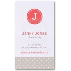 Linen Beige & Coral Cute Polka Dots Monogram Business Card Template