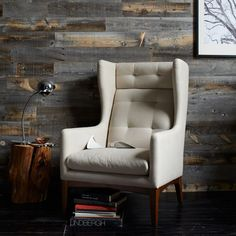 James Harrison Wing Chair - Fabric from West Elm. Saved to Chair Up. Reclaimed Wood Paneling, Weathered Wood, Wood Planks, James Harrison, Accent Chairs For Living Room, Living Area, Living Rooms, Living Spaces, Vintage Chairs