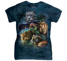 Big Cats Jungle T-Shirt by The Mountain. Lion Tiger Leopard Panther Puma - Lion Shirt - Ideas of Lion Shirt Welsh, Panther Leopard, Black Panther, Big Cats Art, Steampunk, Lion Shirt, Jungle Cat, Cat Art Print, Biker