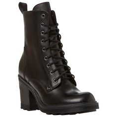 Bertie Pane Heeled Lace Up Boots