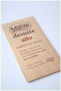 * Faire part mariage plaquette chocolat Nestlé *