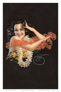 Hawaiian Pin Up Girl c.1946 Kunstdruk