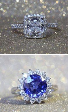 14K White Gold #Diamond Pave Sunburst Engagement #Ring. http://jangmijewelry.com/