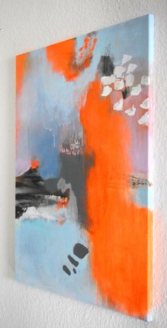 Abstract art - original fine art abstract painting modern art acrylic painting on stretched canvas neon orange grey light blue painting canvas painting Abstract Canvas Art, Acrylic Painting Canvas, Acrylic Art, Painting Abstract, Large Painting, Painting Art, Modern Art Paintings, Modern Artwork, Oil Paintings