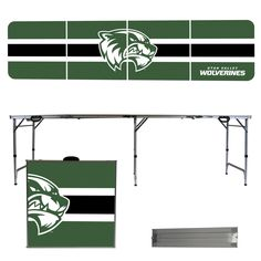 UTAH VALLEY WOLVERINES 8 FOOT PORTABLE FOLDING TAILGATE TABLE STRIPE VERSION  Proudly show off your team spirit with this officially licensed portable 8 foot long tailgate table! Product Features 8 feet long Folds and Unfolds in under a minute for set up and storage! Easy to Clean Surface Avoids warping and resists spills Lightweight Design Durable and Tough Includes Carrying Handles Unfolded: 96 x 24 x 30 inches Folded: 24 x 24 x 6 inches Weight: 22 lbs Officially Licensed Product