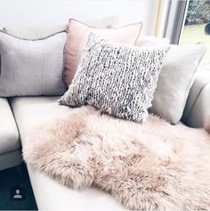 Soft grey furnishings Cosy Corner, Interior Styling, Cushions, Couch, Throw Pillows, Bed, Room Ideas, House Ideas, Decorating