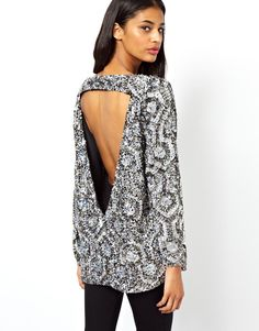 ASOS | ASOS Sequin Tunic With Cutout Back And Geo Embellishment at ASOS
