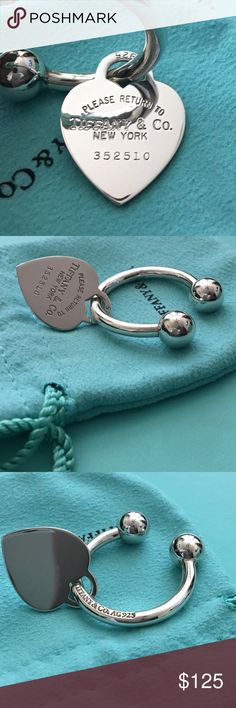 Return to Tiffany & Co Heart Tag Screwball Keyring Inspired by the iconic key ring first introduced in 1969, the Return to Tiffany collection is a classic reinvented. Elegant and sophisticated, this key ring honors the original design. Sterling silver –Size medium.   Keyring is engravable. Tiffany & Co. Accessories Key & Card Holders