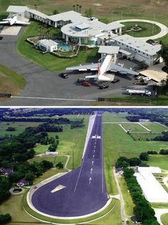 John travolta's house. He had Florida chang the laws to allow his 747 could park beside his home. Nice