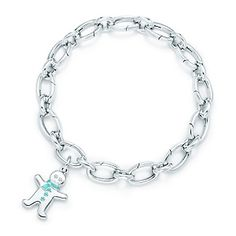 Tiffany & Co. | Item | Gingerbread man charm in silver with Tiffany Blue® enamel finish on a bracelet. | United States
