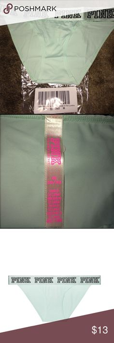 Vs pink Logo Bikini Sheer Seafoam Shine. M NWOT Vs pink Logo Bikini Sheer Seafoam Shine. M just opened outta packed to look at. No tags because I bought them online. NWOT PINK Victoria's Secret Intimates & Sleepwear Panties