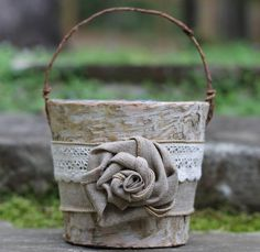Birch Rustic Flower Girl Basket Burlap Lace and by MichelesCottage, $39.95