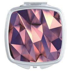 rose gold poly gonalpolygonmodern digital art makeup mirror - metal style gift ideas unique diy personalize