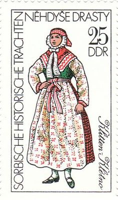 FolkCostume&Embroidery: Overview of Sorbian Folk Costume Folk Costume, Costumes, Historical Costume, Stamp Collecting, Traditional Dresses, Postage Stamps, Germany, Embroidery, Eastern Europe