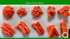 Learn the culinary basic knife cuts such as fine brunoise, brunoise, small dice (macédoine), medium dice (Parmentier), large dice, paysanne, roll-cuts, diago...