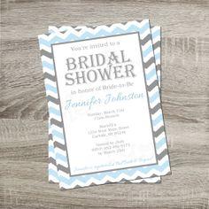 Printable Bridal Shower Invitation - Blue Gray & White Chevron 5x7 Invitation    http://www.etsy.com/shop/PurpleConfettiPapers