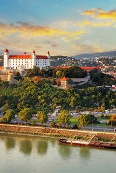 Bratislava castle is still the most dramatic feature in the city of Bratislava, Slovakia today.  The humongous castle sits on the top of the hill in the center of the city.  The location provides excellent views of three countries (Austria, Slovakia, and Hungary).