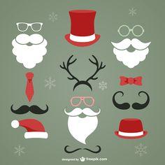 サンタクロースのヒゲや帽子などのイラストのベクターイラスト詰め合わせ