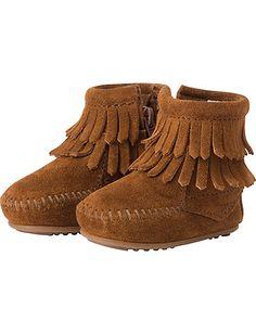 Minnetonka Double Fringe Boots from #HannaAndersson.