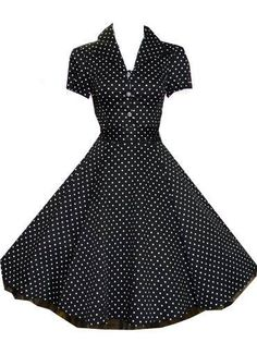 Ladies New 1940's 1950's Vintage Style Black Polka Dot Classic Full Circle Jive Swing Shirt Dress: Amazon.co.uk: Clothing