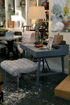 Upholstered stool is ideal for desk or dressing table