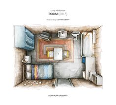 Watercolor perspective section and floor plan of room in Lenny Abrahamson's film ROOM.