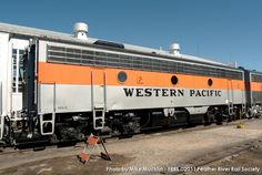 (F9 (B)).  Western Pacific Railroad.   EMD F9 (B) Cabless booster   Prime Mover:  EMD 567-16 Cylinder Supercharged. 1750  H.P.    Built 1950.