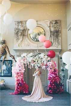 Ombre Pink Bridal Shoot at Aynhoe Park… A Mr & Mrs Unique & The Bijou Bride Collaboration. Flower and balloon arch by Bubblegum Balloons and Early Hours Ltd. Dress Elizabeth Stuart