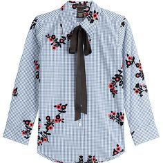 Marc Jacobs Printed Cotton Shirt (1.495 RON) ❤ liked on Polyvore featuring tops, multicolor, multicolor shirt, blue top, multi color shirt, marc jacobs top and blue shirt