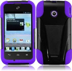 Importer520 HYBRID Dual Heavy Duty T-Stand Impact Kickstand Double Layer Fusion Cover Case for Huawei Inspira H867g/ Glory H868c/ Prism Ii U8686 (Straight Talk/t-mobile) - Black+Purple. Brand New Generic Product. ** Color may differ **. Provides ultimate protection from scratches and its perfect mold keeps the phone trim and trendy. Reinforced with hard plastic to the sides to ensure the durability of the case. Precise openings on the protector case to allow access to all controls and...