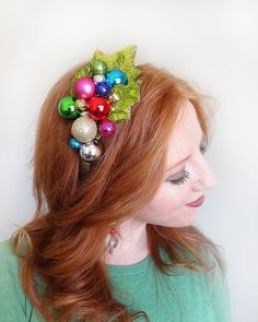 A festive headband with piled Christmas ornaments on a velvet holly leaves. Note: some of these are real ornaments, and not shatter-proof if dropped. Not suitable for children:) Pair it with your favorite Ugly Sweater, or an elegant Christmas dress for a more formal occasion. Or how Christmas Headpiece, Christmas Hair, Christmas Fashion, Xmas, Christmas Costumes, Christmas Themes, Christmas Crafts, Christmas Ornaments, Diy Ugly Christmas Sweater