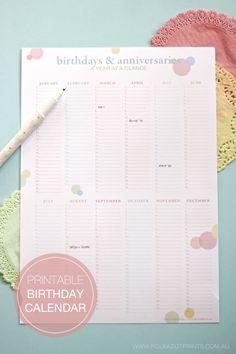 Calendrier d'anniversaire à imprimer