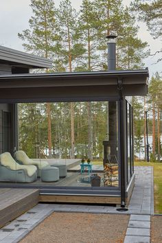Cottage In The Woods, Cabins In The Woods, Fireplace Windows, Log Wall, Log Home Living, Patio Enclosures, Modern Cottage, Wooden House, Log Homes