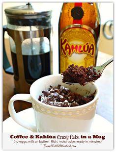Coffee & Kahlúa Crazy Cake in a Mug!  (no eggs, milk or butter)  So simple.  So good.