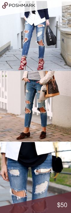 Zara ripped jeans Great condition, amazing style. I love this jeans so much that I purchased 2 pairs of them. Zara Pants Skinny