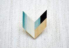 Wooden Geometric Chevron Brooch