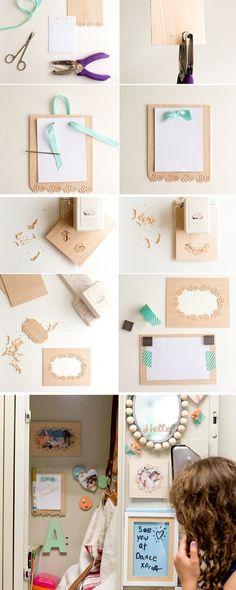 Wooden Frame and Wooden Notepad | 17 DIY Locker Decorations, see more at: http://diyready.com/17-diy-locker-decorations/