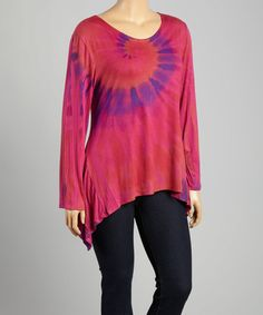 Look what I found on #zulily! Magenta Tie-Dye Sidetail Top - Plus by Poliana Plus #zulilyfinds