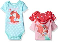 Disney Baby Girls' 3 Pack of Ariel the Little Mermaid Bodysuits, Pink, 6/9 Months * To view further for this item, visit the image link.