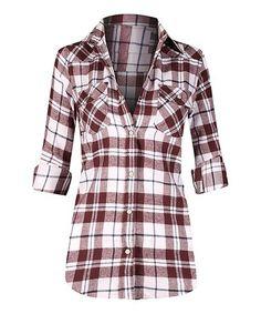 Loving this Burgundy & White Plaid Flannel Button-Up on #zulily! #zulilyfinds